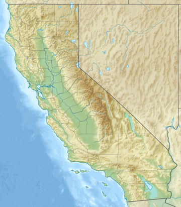 A topographic map of California with California High-Speed Rail stations marked