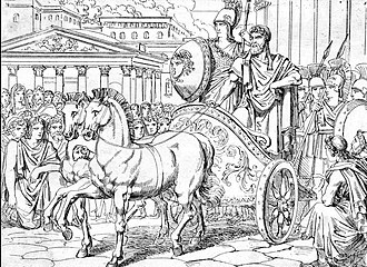Peisistratos - Illustration from 1838 by M. A. Barth depicting the return of Peisistratos to Athens, accompanied by a woman disguised as Athena, as described by the Greek historian Herodotus