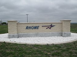 Rhome sign off of U.S. Route 287