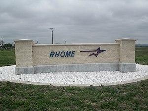 Rhome, Texas - Rhome sign off U.S. Route 287