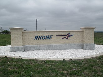 Rhome, Texas - Rhome sign off U.S. Route 287
