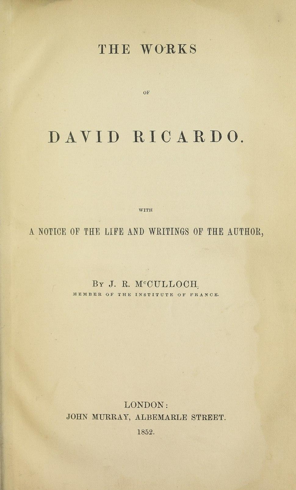 Ricardo - Opere, 1852 - 5181784