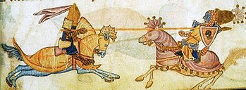 Richard the Lionheart in a duel with Saladin, English fantasy from around 1340
