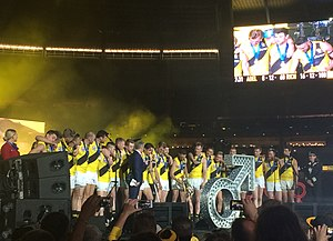 2017 Richmond Football Club season - Players celebrating on stage after winning the 2017 AFL Grand Final