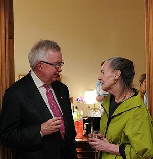 Joe Clark - Clark speaking with Progressive Conservative Senator Elaine McCoy (Alberta)