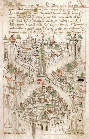 The Maire of Bristowe is Kalendar - Robert Ricart's map of Bristol