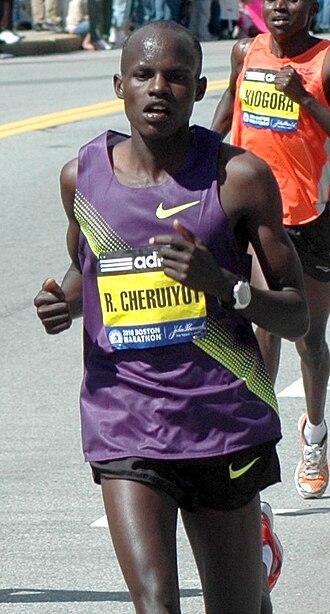Robert Kiprono Cheruiyot - Robert Kiprono Cheruiyot in the 2010 Boston Marathon near half way point in Wellesley.