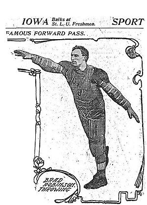 Shoulder pads - 1906 photograph of early American football uniform with rudimentary shoulder pads worn by Bradbury Robinson, who threw the first legal forward pass