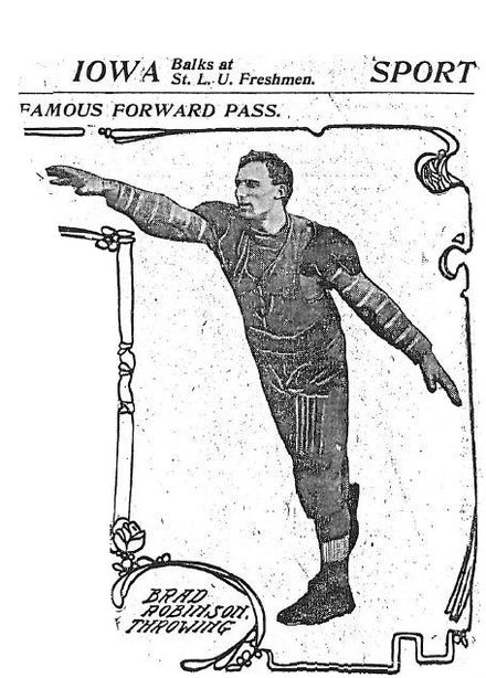 1906 St. Louis Post-Dispatch photograph of Brad Robinson, who threw the first legal forward pass and was the sport's first triple threat RobinsonThrowing.jpg