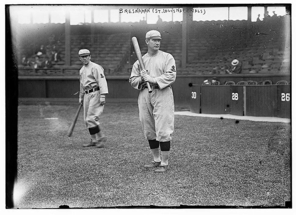 Roger Bresnahan, St. Louis, NL, Miller Huggins in background (baseball) (LOC)