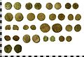 Roman Coin Hoard, 17 AE sestertii and lower denominations to AD c.192. Treasure case no. 2009 T366 (FindID 262200).jpg