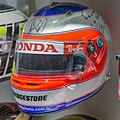 Rubens Barrichello 2007 Monaco helmet (thermo painting) 2017 Museo Fernando Alonso.jpg