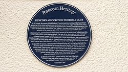 Runcorn association football club plaque
