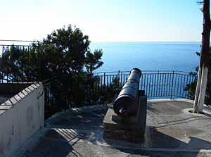 Septinsular Republic - A Russian cannon from the Russian–Ottoman occupation of Corfu (Paleokastritsa).