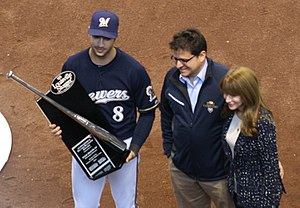 Mark Attanasio - Attanasio (center) presenting a 2011 Silver Slugger Award to Ryan Braun