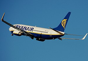 Ryanair Boeing 737-800 shortly after takeoff