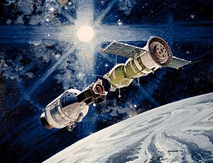 Cold War (1962–1979) - The 1975 Apollo-Soyuz space rendez-vous, one of the attempts at cooperation between the USA and the USSR during the détente.