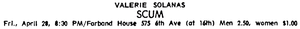 SCUM Manifesto - An ad placed by Solanas in The Village Voice, April 27, 1967