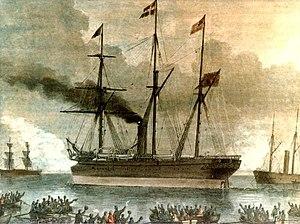 1866 in Denmark - SS Ottawa , illustration by Carl Emil Baagøe in Illustreret Tidende