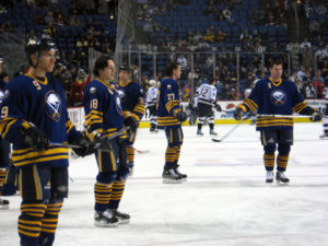 Daniel Brière - Brière (48) prior to a game between the Sabres and the Vancouver Canucks.