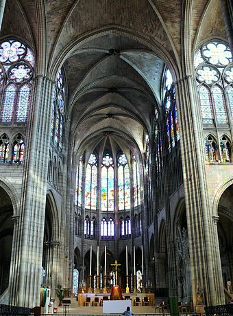 The Abbey of St. Denis, France. Abbot Suger of this Abbey was an early patron of the extraordinary artistic achievements of the epoch. Saint-Denis - Basilique -2.JPG