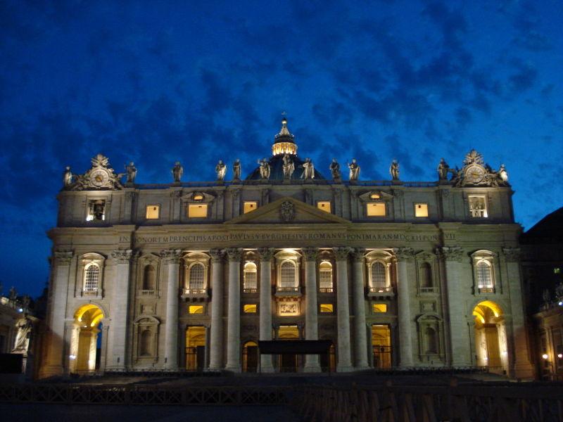 File:Saint Peter's Facade at Dusk.jpg