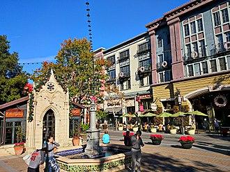 Santana Row - Santana Row Park is home to the 19th-century Neo-Gothic façade of a chapel from Montpellier, France.