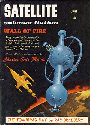"Charles Eric Maine - Maine's 1955 novel, Crisis 2000, saw its first American publication as the cover story for the June 1958 issue of Satellite Science Fiction, under the title ""Wall of Fire"""