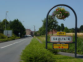 Saultain (Nord, Fr) city limit sign.JPG