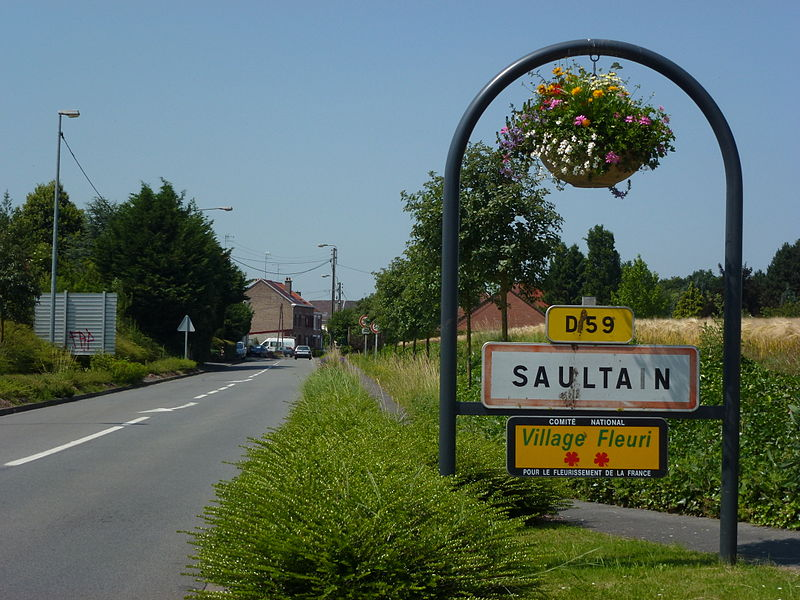 Saultain (Nord, Fr) city limit sign