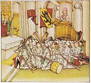 Schilling Gebet vor Schlacht bei Laupen