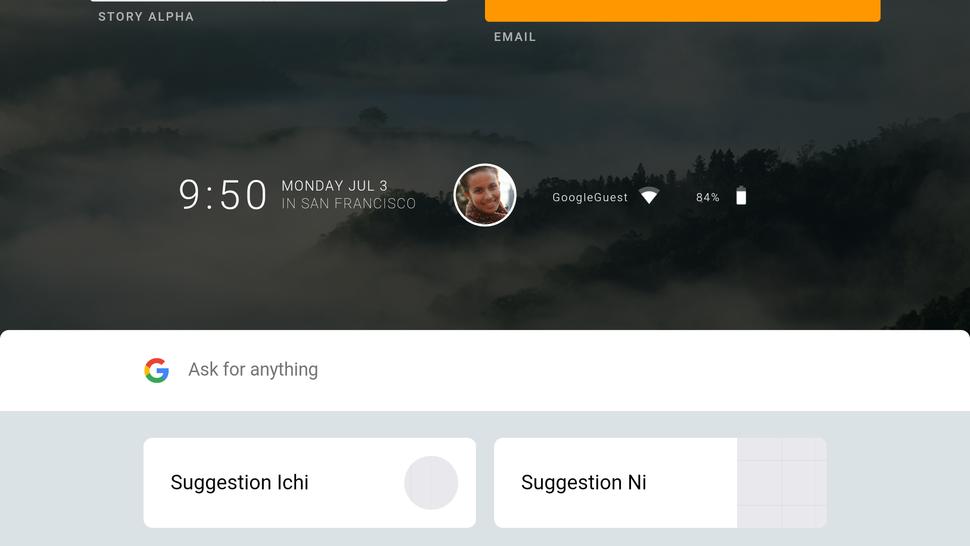 Screenshot of Google Fuchsia (July 2017)