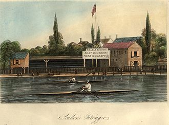 Outrigger - Early racing sculls with outriggers in 1851.