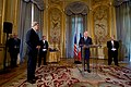 Secretary Kerry Listens as French Foreign Minister Jean-Marc Ayrault Prepares to Award him the Grand Officer of the Legion d'honneur in Paris (31407218102).jpg