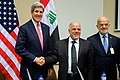 Secretary Kerry Shakes Hands With Iraqi Prime Minister al-Abadi Before Bilateral Meeting at NATO Headquarters in Belgium (15934729591).jpg