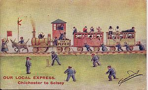 Selsey - Selsey Tramway Satirical Postcard circa 1907