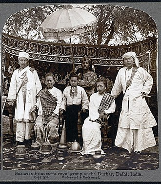 Shan States - Two Shan saophas with their wives seated between them at the Durbar held in New Delhi in honour of Edward VII.