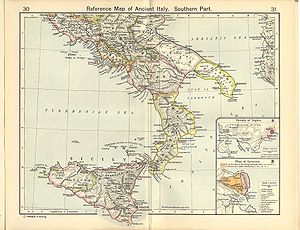 Cartina del sud Italia in epoca augustea