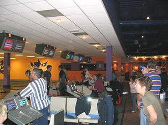 Ten-pin bowling - Inside a typical ten-pin bowling alley (Shropshire, UK)