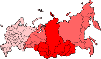 Indigenous peoples of Siberia - Siberia within the Russian Federation: North Asia in light red, political Siberian Federal District in dark red
