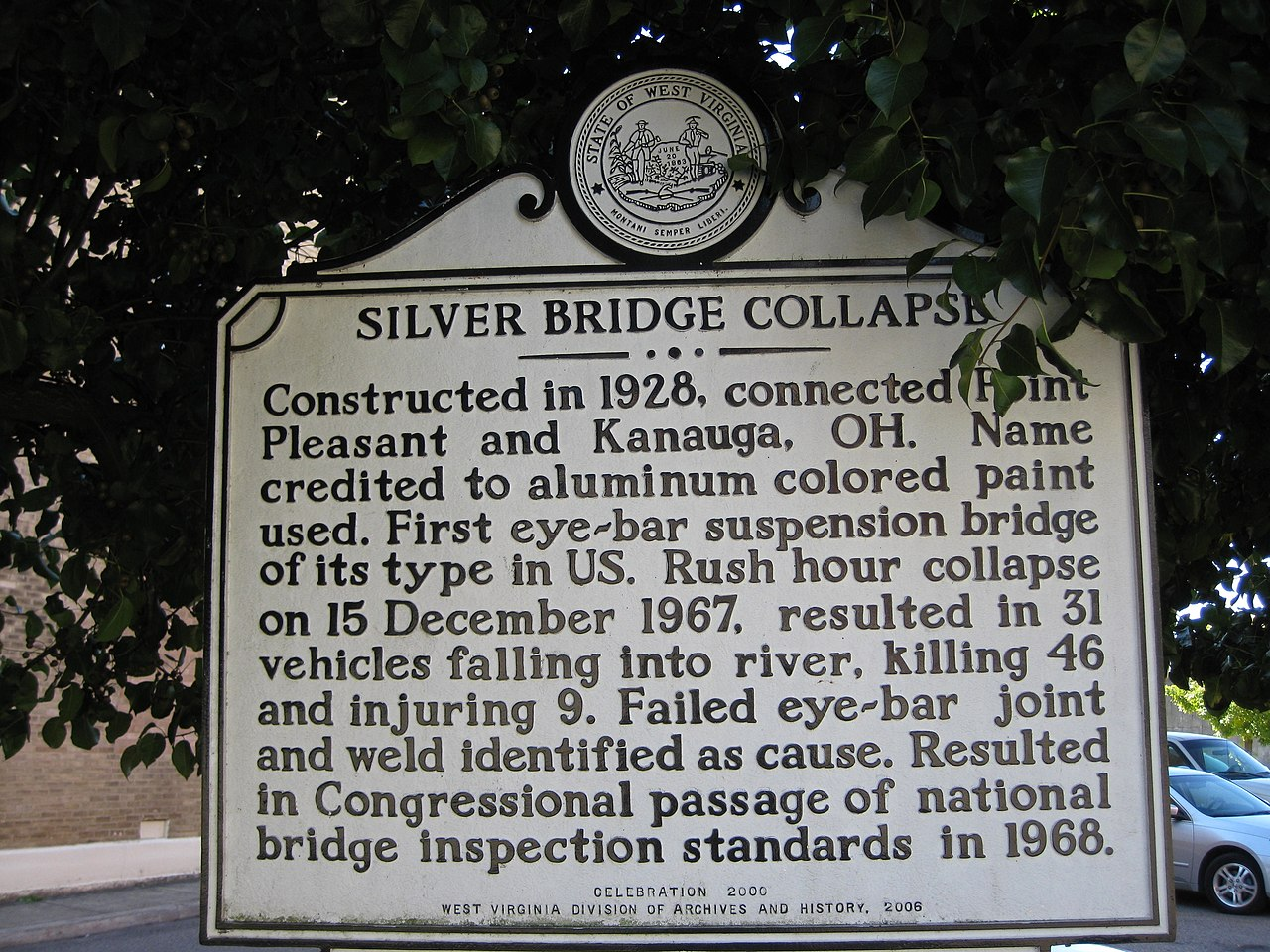 Silver Bridge Collapse Signage