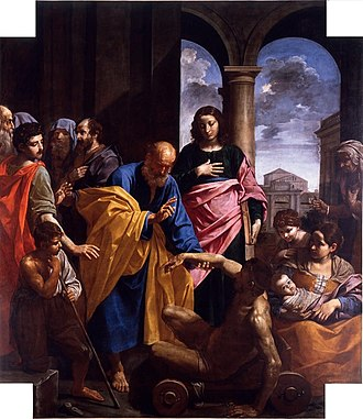 Simone Cantarini - Saint Peter healing the lame man