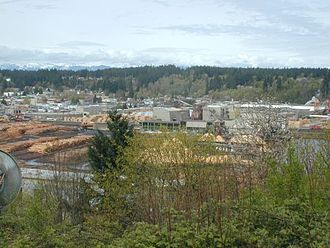 Shelton, Washington - Simpson Timber Company mill in Shelton, on the Oakland Bay, viewed from the southeast.