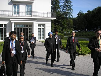 Manmohan Singh - An economist, Singh arriving at the 33rd G8 summit in Heiligendamm