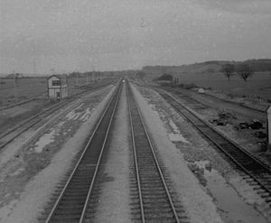Disused railway stations on the Exeter to Plymouth Line - Exminster in 1970 looking south towards Starcross