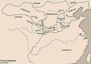 Western Qin - Western Qin and its neighbors in 391 AD