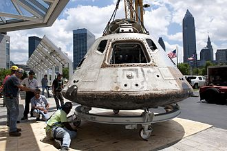 Glenn Research Center - The Apollo Command Module of the Skylab 3 mission being moved to the Great Lakes Science Center
