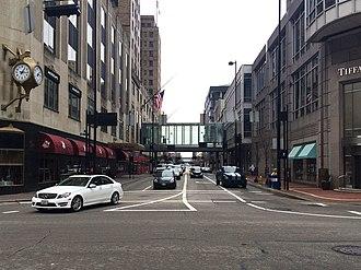 Cincinnati Skywalk - This section of Skywalk crosses 5th Street near Vine Street, connecting Carew Tower with Macy's.