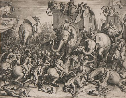 Engraving of the Battle of Zama by Cornelis Cort, 1567. Note that Asian elephants are illustrated rather than the very small North African elephants used by Carthage. Slaget ved Zama - Cornelis Cort, 1567.jpg