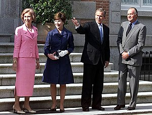 Spain–United States relations - Juan Carlos I of Spain and Queen Sofia with President George W. Bush and Laura Bush